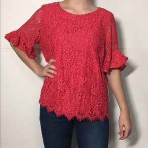 Nanette Lepore Bella Donna Lace Bell Sleeve Top